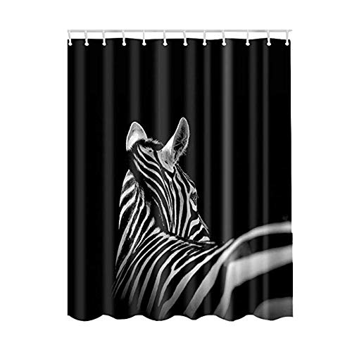 GWELL Bathroom Shower Curtain, Zoo Series, Bath Curtain with 12 Plastic Hooks, Durable Waterproof Fabric, Zebra Print, 71