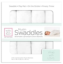 SwaddleDesigns Cotton Muslin Swaddle Blankets, Set of 4, Pure White