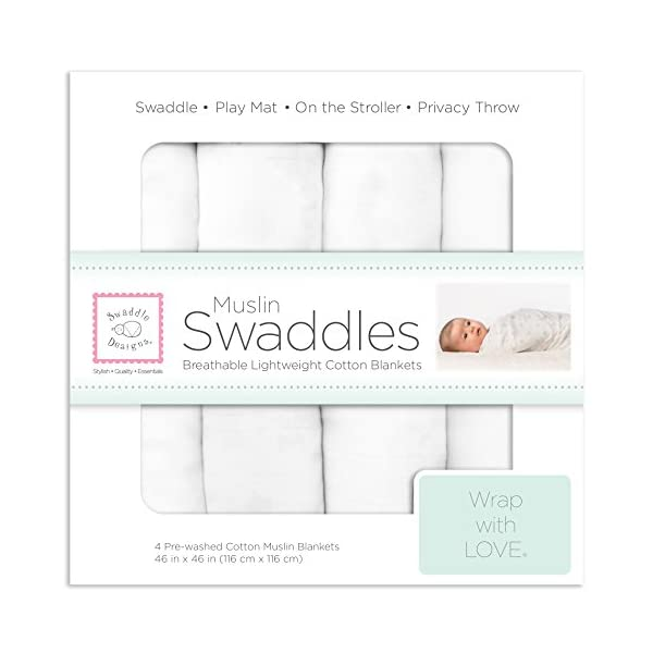 SwaddleDesigns Cotton Muslin Swaddle Blankets, Set of 4, Pure White (Parents' Picks Award Winner)