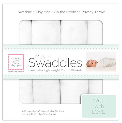 (SwaddleDesigns Cotton Muslin Swaddle Blankets, Set of 4, Pure White (Parents' Picks Award Winner))