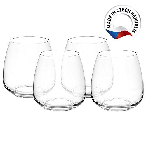 Crystal Stemless Wine Glasses - Set of 4 - Lead-Free Glass - 13.5oz (400ml) (Glasses Crystal Wine Stemless)