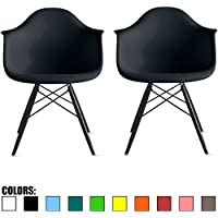 2xhome - Set of Two (2) - Black - Eames Style Armchairs - Black Wooden Legs Dining Room Chair - Lounge Arm Arms Armed Chair Chairs Armchairs Seat Wood Dowel Leg