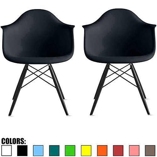 2xhome Set of 2 Black Mid Century Modern Designer Contemporary Vintage Office Chairs Dining No Wheels Living Kitchen Guest With Arms Armchairs Solid Back Accent Plastic Dark Black Wood Wooden Legs DAW