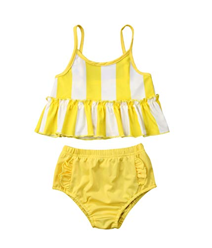 Toddler Baby Girl Bikini Swimsuit Lace Striped Halter Top Ruffle Shorts Sunsuit Clothes 2 Pcs (Yellow, 12-24 Months)