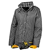 DEWALT DCHJ084CD1-XL Woman's Flannel Lined Diamond Quilted Jacket, XL, Charcoal