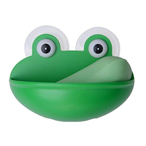 Green qsbai Lovely Frog Wall Suction Sponge Soap Drain Dish Rack Holder Bathroom Organizer