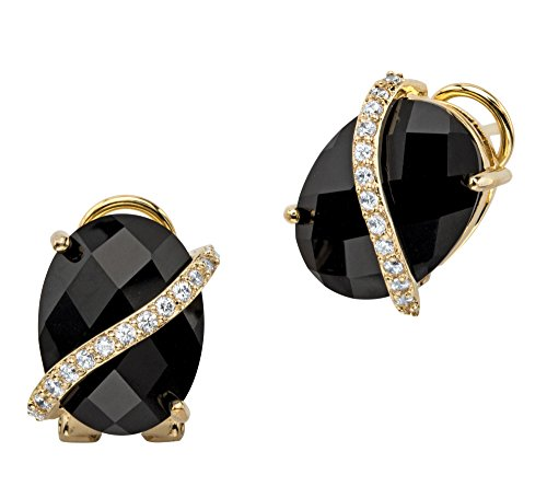 Pave Black Onyx - Oval Checkerboard-Cut Genuine Black Onyx and Pave CZ 14k Gold-Plated Drop Earrings