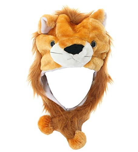 Lion Flap - JOYHY Unisex Winter Plush Ear Flap Animal Hats Brown Lion