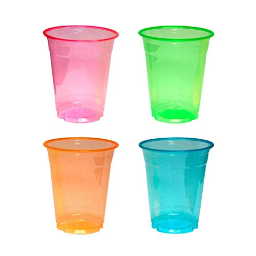Party Essentials N122090 20 Count Soft Plastic Party Cups/Tumblers, 12 oz, Neon -