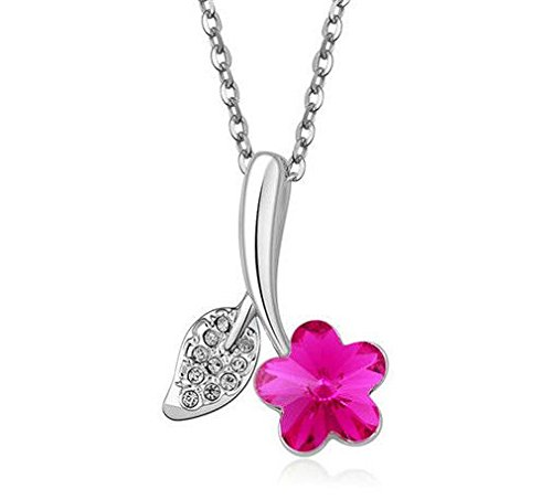 New Womens Star Hot Pink Crystal Rhinestone Silver Chain Pendant Necklace - (Chaise Chevron)