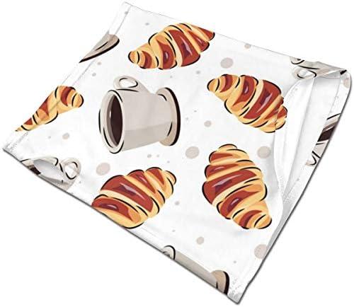 フェイスカバー Uvカット ネックガード 冷感 夏用 日焼け防止 飛沫防止 耳かけタイプ レディース メンズ Coffee And Croissant Pattern