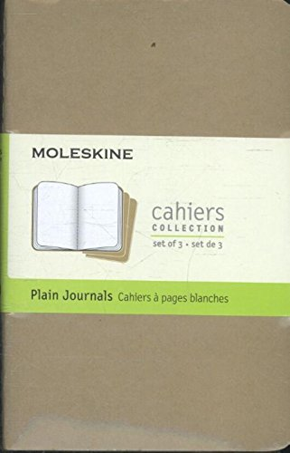 Moleskine Cahier Journal (Set of 3), Pocket, Plain, Kraft Brown, Soft Cover (3.5 x 5.5): set of 3 Plain Journals