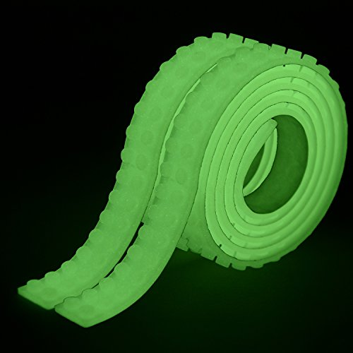 2 Rolls Glow in the Dark Luminous Building Blocks Tape Sticker Compatible with Lego Blocks Construction Self-Adhesive Tape | Green and White | Set of 2 | Perfect for kids of all ages. (Dark 2 In The Glow Tape)