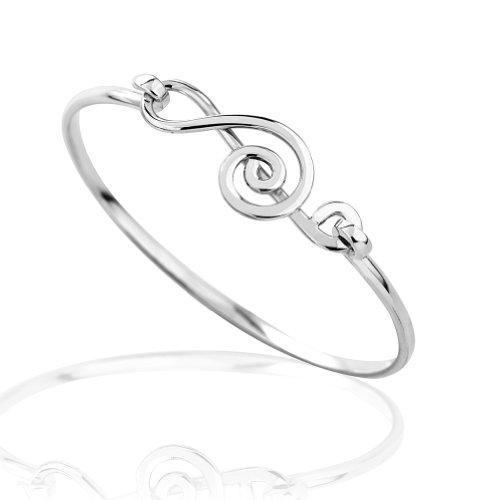 Argent sterling 925aigus G Clef Musique Wrap Bracelet