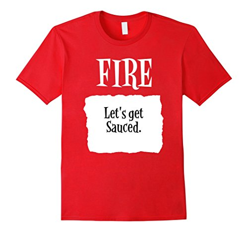 Fire Hot Sauce Costume (Mens Fire Hot Sauce Packet Alternate Halloween Costume Tshirt Large Red)