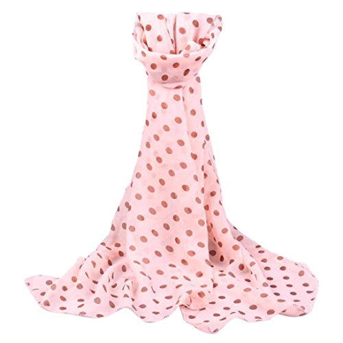 Wensltd Women Long Wrap Shawl Polka Dot Chiffon Scarf Scarves Stole (Pink)]()
