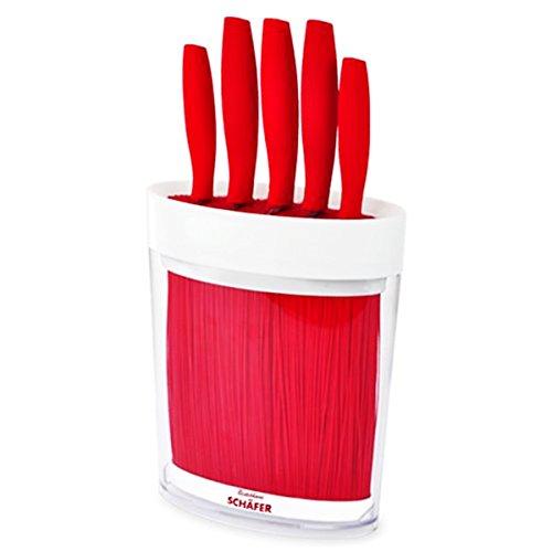 Universal Messer-Set im Messer-Block mit Fasereinsatz 6-teilig in Rot Messer-Block Messer-Ständer Block - Milumi Edition