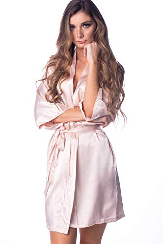 Women's Robe Silky Satin Kimono for Bride Bridesmaids Flower Girls Comfy Robe for Kids and Plus Size Women L/XL Blush