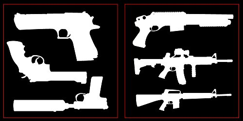 Auto Vynamics - STICKERPACK-GUNSET01-10-GWHI - Gloss White Vinyl Detailed Hand Guns & Rifles Sticker Pack - Includes Pistols & Long Guns! - 10-by-10-inch Sheets - (2) Piece Kit - Themed Set (Glock Pistol Stickers)