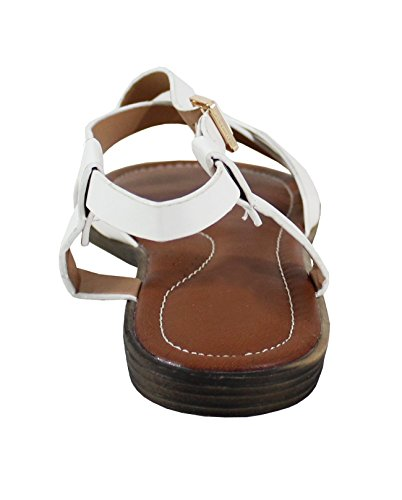 Style Shoes White Cuir Femme By Plate Sandale 6Stxqwq7OB
