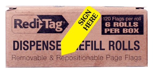redi-tag-sign-here-printed-arrow-flags-6-roll-refill-120-flags-per-roll-1-7-8-x-9-16-inches-yellow-9