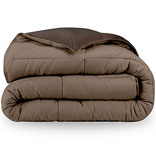 Bare Home Reversible Comforter - Full/Queen - Goose Down Alternative - Ultra-Soft - Premium 1800 Series - Hypoallergenic - All Season Breathable Warmth (Full/Queen, Cocoa/Taupe)