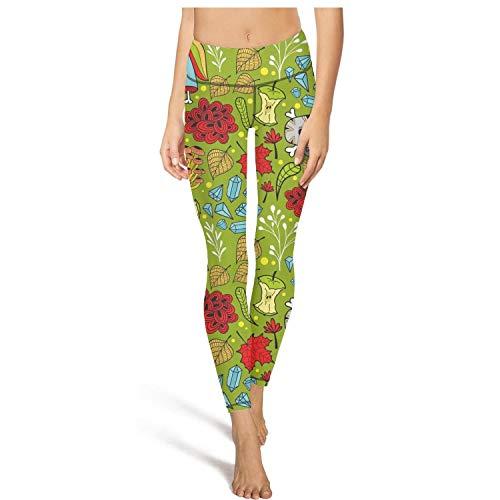 PLOKINC Gym Yoga Pants for Womens Capri Leggings Green Diamond Unicorn Skull Sport Workout Running Legging Tights