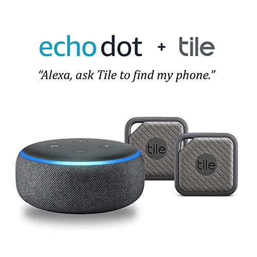 Echo Dot (3rd Gen) - Charcoal with Tile Sport (Graphite) - 2 Pack