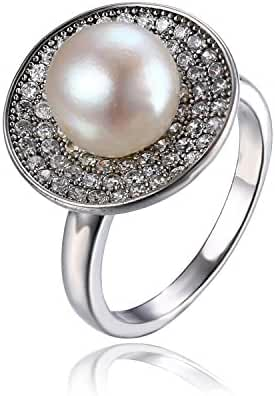 JewelryPalace White 8mm AAA Quality Freshwater Cultured Pearl Inlay Ring 925 Sterling Silver
