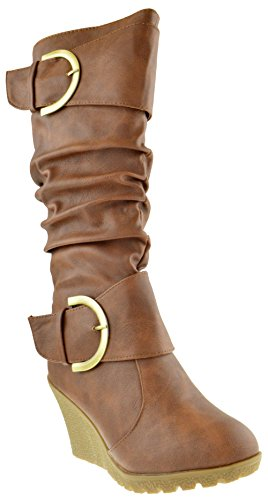 Top Moda Pure 65 Womens Slouch Wedge Boots Tan 6