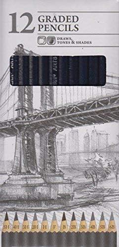 Pack de 12 Graded artista lápices de dibujo tonos y tonos 5H a 6B ...
