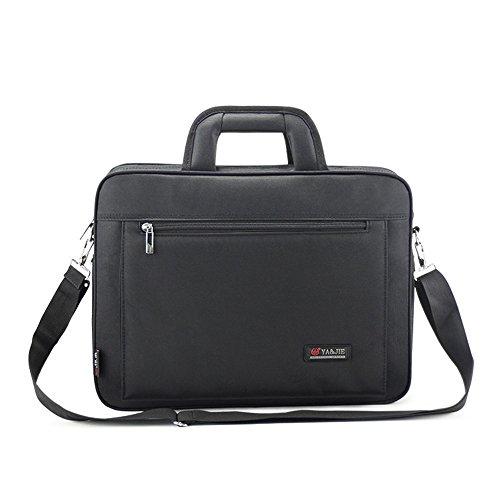 Wewod 16 pulgadas Alta Capacidad Negocios Impermeable Maletín Bolso de Bandolera de Oxford Tela Bolsa de Mensajero Tote para Ordenador Portátil y Tabletas 40 x 30 x 7 cm (L*H*W) (Negro) Negro