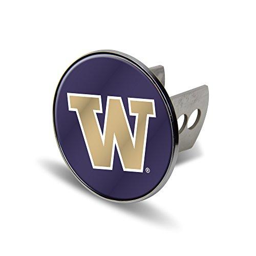 NCAA Washington Huskies Laser Cut Metal Hitch Cover, Large, Silver (Washington Laser Huskies)