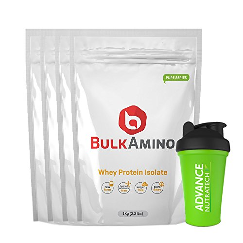Bulkamino Whey Protein Isolate 4kg Unflavored without sugar , without carb +free shaker by ADVANCE NUTRATECH