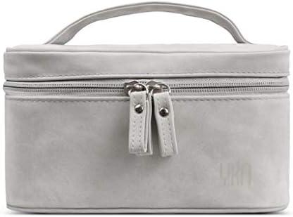化粧品収納ボックス 家庭用化粧品収納ボックス旅行用ポータブルベルト大容量に分類できます羊布生地グレー XLSM