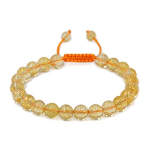 AD Beads Natural 8mm Gemstone Bracelets Healing Power Crystal Macrame Adjustable 7-9 Inch (Citrine Crystal)