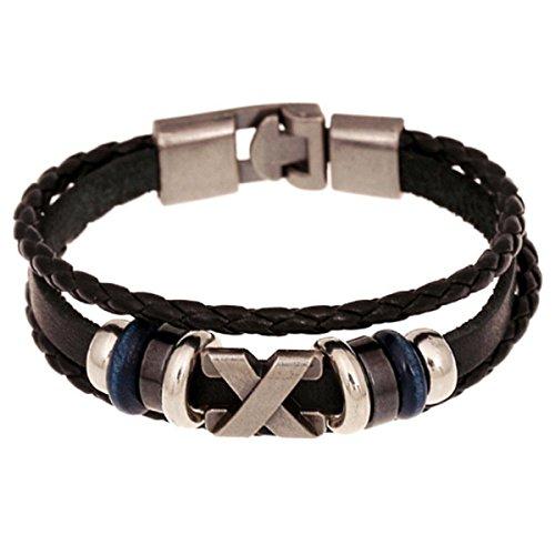 Baishitop Men Women Handmade Metal Bracelets, PU Weave Band, X Shape Letter (14kt Heart Charm Gold Italian)