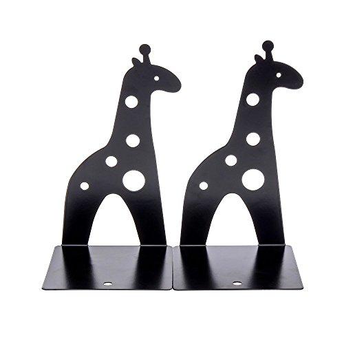 1pair Black Cute Giraffe Nonskid Bookends Book Rack Book Organizer Bookend Art