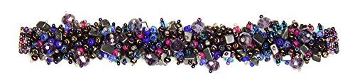 [Confetti Beaded Bracelet with Double Magnetic Clasp, Handmade in Guatemala (Purple and Hematite)] (Double Strand 7