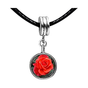 Chicforest Silver Plated Red Rose Photo Red Zircon Crystal July Birthstone Flower dangle Charm Beads Fit Pandora Chamilia Biagi Charm Bracelet
