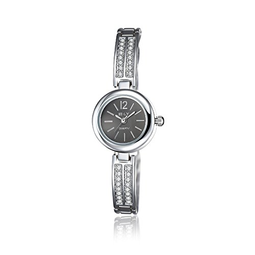 Black Jeweled Ladys Watch - Naivo women's quartz watch, jeweled steel w/black dial
