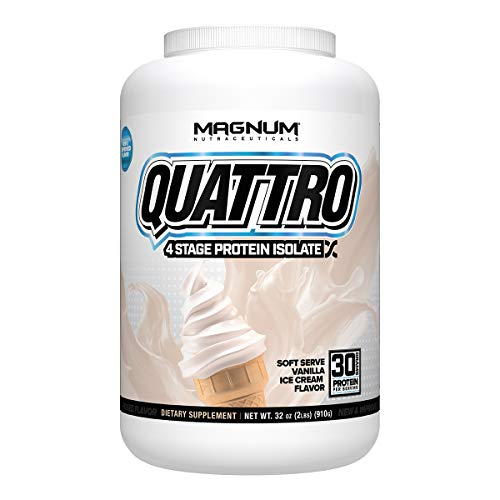 Magnum Nutraceuticals' New and Improved Quattro Soft Serve Vanilla Pure Protein Isolate Powder (2lbs.)