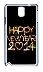 2014 Happy New Year Light Painting Bokeh Polycarbonate Hard Case Cover for Samsung Galaxy Note III/ Note 3 / N9000 White