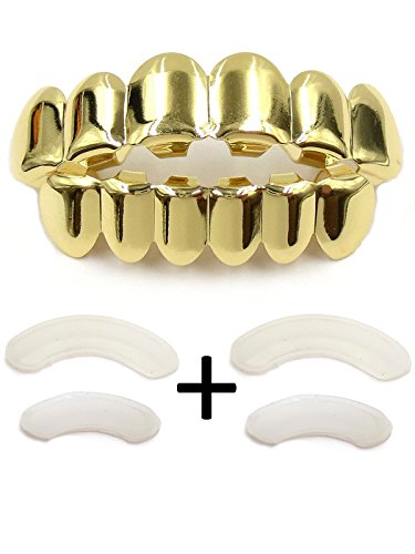 TSANLY Gold Grillz - New Custom Fit 14k Gold grillz Plated tooth grills fit mouth Caps Top & Bottom Grill Set Gift for kids
