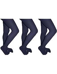 d106e188c924 Excellent Comfort Girls Microfiber School Tights Uniform Hosiery 3 Pack