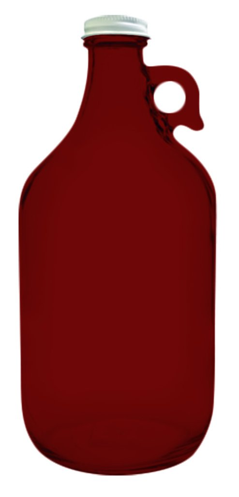 True Fabrications 1.2 Gallon Clear Glass Beer Growler - Full Color Red - Additional Vibrant Colors Available by TableTop King