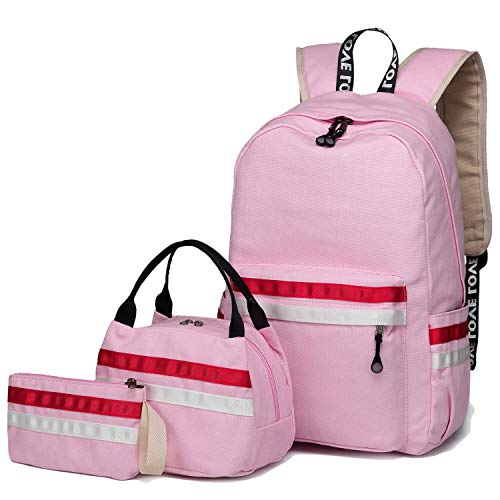 School Backpack for Girls, BLUBOON Teens Bookbag College Laptop Rucksack Women Travel Daypack Lunch Box Bag Pencil Case (9193-Pink) by BLUBOON
