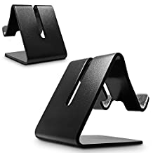SENHAI Desktop Cell Phone Stand, 2 Pack Universal Charging Holder Stand for Smartphone Tablet GPS Like iPhone iPad Samsung-(Black, Aluminum)