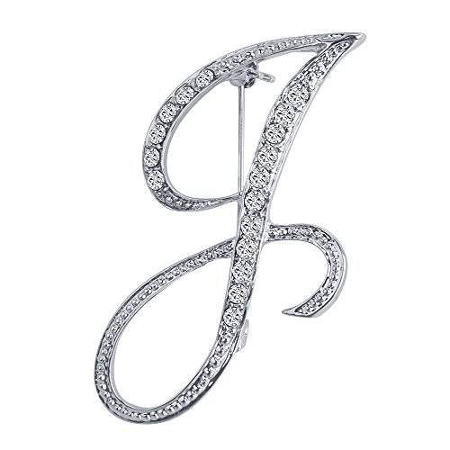 Vivilly 1Pcs English Letters Silver Plated Metal Clear AAA+ Crystal Lapel Pin Brooches Collar (J)