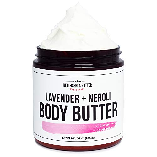 Whipped Body Butter for Dry Skin - LAVENDER, ROSE & NEROLI - Intense 24-Hour Hydrating Cream - Scented with 100% Pure Essential Oils - Paraben Free, Non Greasy, No Synthetic Fragrances - 8 oz